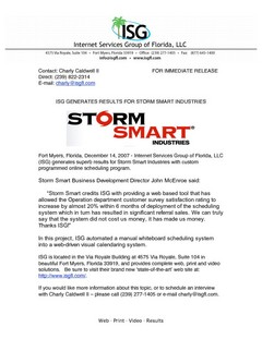 ISG generates results for Storm Smart